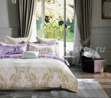 Twill евро 4 наволочки (бежево-фиолетовое с белым узором) в интернет-магазине Моя постель
