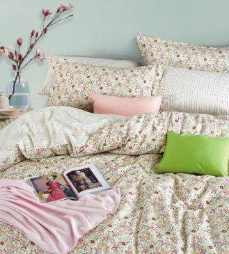 Кпб сатин Евро 2 наволочки (пестрые цветы) в интернет-магазине Моя постель