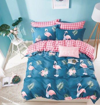 Twill 2 спальный TPIG2-538-50 (фламинго на ярко-синем) в интернет-магазине Моя постель