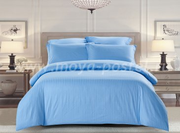 КПБ Tango Color Stripe Страйп-сатин семейный, голубой в интернет-магазине Моя постель