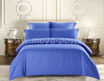 КПБ Tango Color Stripe Страйп-сатин семейный, синий в интернет-магазине Моя постель
