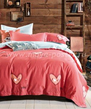 Семейное постельное белье сатин 2 наволочки (красный с сердечками) в интернет-магазине Моя постель