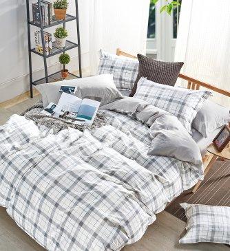 Полуторное постельное белье сатин (серая клетка) в интернет-магазине Моя постель