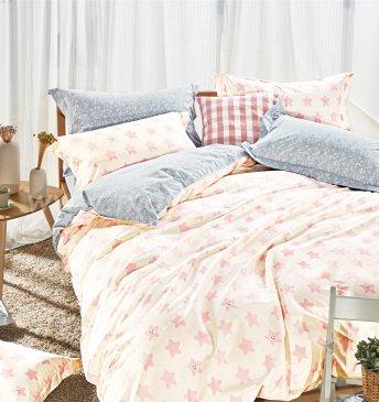 Полуторное постельное белье сатин (розовые звездочки) в интернет-магазине Моя постель