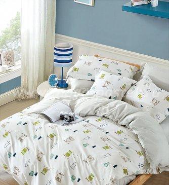 Двуспальное постельное белье сатин 70*70 (совушки) в интернет-магазине Моя постель