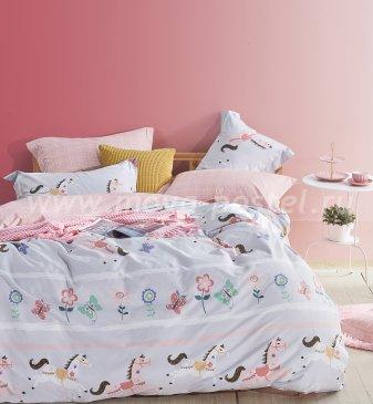 Полуторное постельное белье сатин (игрушечные лошадки) в интернет-магазине Моя постель