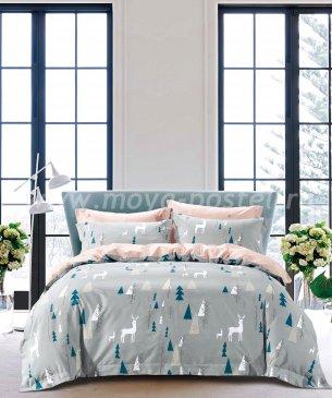 Двуспальное постельное белье TS02-X55 сатин 70*70 (олени в лесу) в интернет-магазине Моя постель