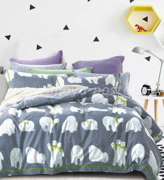 Двуспальное постельное белье сатин 70*70 (белые медведи) в интернет-магазине Моя постель