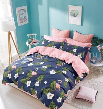 Twill евро 4 наволочки (фламинго на синем) в интернет-магазине Моя постель