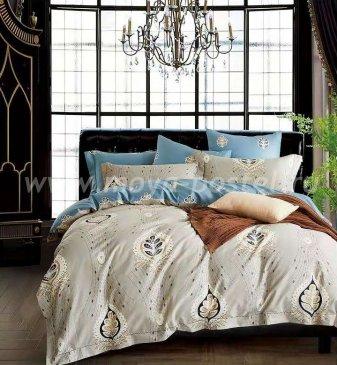 Кпб Египетский хлопок евро 4 наволочки (бежево-голубой) в интернет-магазине Моя постель