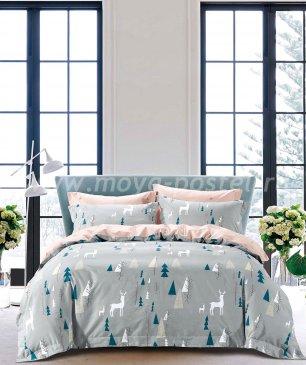Семейное постельное белье сатин 2 наволочки (олени в лесу) в интернет-магазине Моя постель