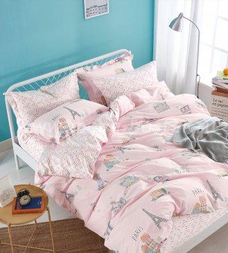 Двуспальное постельное белье Париж 70*70 (розовое) в интернет-магазине Моя постель