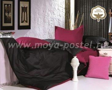 КПБ 1014-JT16 Сатин однотонный евро 2 наволочки, черный с бордовым в интернет-магазине Моя постель