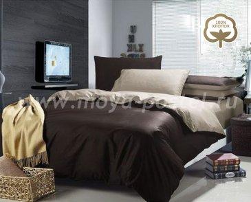 КПБ Сатин евро 2 наволочки (коричнево-бежевый) в интернет-магазине Моя постель