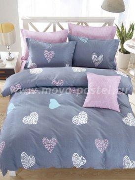 Twill семейный (розово-серый с сердцами) в интернет-магазине Моя постель