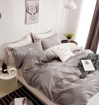 Полуторное постельное белье Twill (серая полоска) в интернет-магазине Моя постель