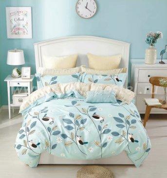 Twill 2 спальный (голубой с листьями) в интернет-магазине Моя постель