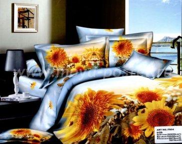 Кпб сатин евро 4 наволочки (поле желтых цветов) в интернет-магазине Моя постель