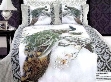Постельное белье евро стандарта 4 наволочки (павлин на снегу) в интернет-магазине Моя постель