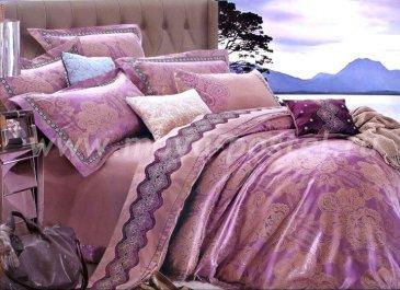КПБ Жаккард евро 4 наволочки (фиолетовый орнамент) в интернет-магазине Моя постель