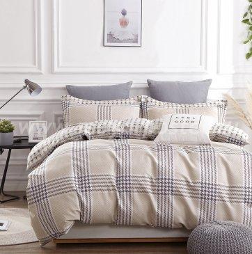 Постельное белье TPIG2-675-70 Twill двуспальное, бежевое в клетку в интернет-магазине Моя постель