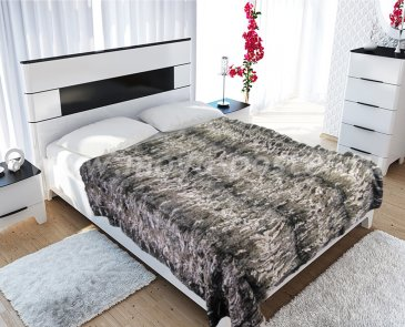 """Меховое покрывало """"Zarina brown"""", евро - интернет-магазин Моя постель"""