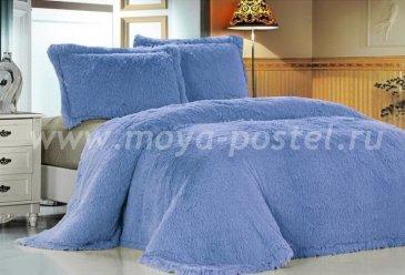 Меховое покрывало Лама голубая евро - интернет-магазин Моя постель