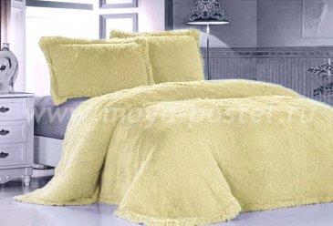 Меховое покрывало Лама желтая, евро размер - интернет-магазин Моя постель