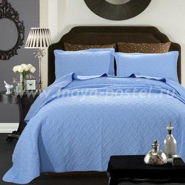 Покрывало Tango Trapunto Patchwork 666, голубое евро размер - интернет-магазин Моя постель