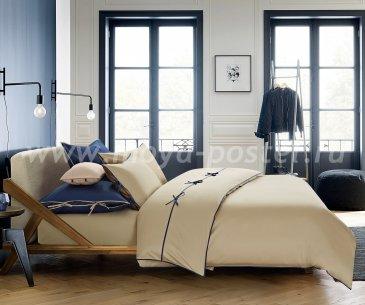 """КПБ """"Luca"""" серо-бежевый/темно-синий, евро в интернет-магазине Моя постель"""