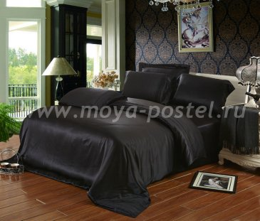 """Шелковый комплект """"Черный"""" с простыней на резинке, евро в интернет-магазине Моя постель"""
