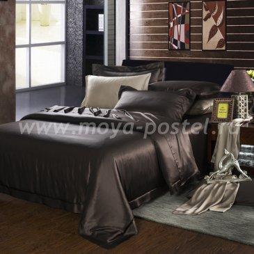 """Шелковый комплект """"Шоколад"""" с простыней на резинке, евро в интернет-магазине Моя постель"""