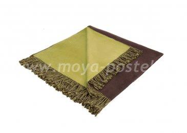 Шёлковый плед «Riva» светло-оливковый/темно-коричневый  в каталоге интернет-магазина Моя постель