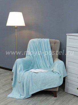 Мятный фланелевый плед TexRepublic Deco квадратики, полуторный в каталоге интернет-магазина Моя постель
