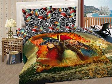"""КПБ Пираты A02 """"Йо-хо-хо"""" синтетический сатин, евро в интернет-магазине Моя постель"""