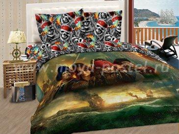 """КПБ Пираты  A04 """"Лихие пираты"""" синтетический сатин, евро в интернет-магазине Моя постель"""