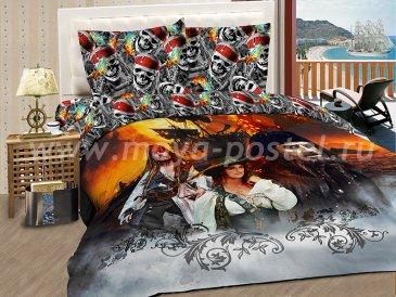 """КПБ Пираты A05 """"Летучий голландец"""" синтетический сатин, евро в интернет-магазине Моя постель"""