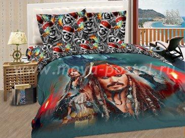 """КПБ Пираты  A06 """"Морской разбойник"""" синтетический сатин, полуторный в интернет-магазине Моя постель"""