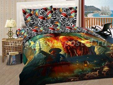 """КПБ Пираты A09 """"Черная метка"""" синтетический сатин, двуспальный в интернет-магазине Моя постель"""