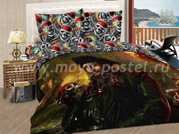 """КПБ Пираты A10 """"Черная Борода"""" синтетический сатин, полуторный в интернет-магазине Моя постель"""