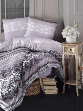 """Постельное белье """"KARNA"""" FIESTA в серую полоску, полуторное в интернет-магазине Моя постель"""