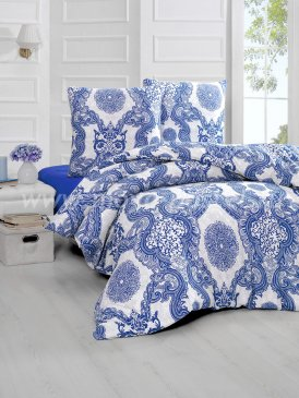 """Постельное белье """"KARNA"""" LAMAR синее, полуторное в интернет-магазине Моя постель"""