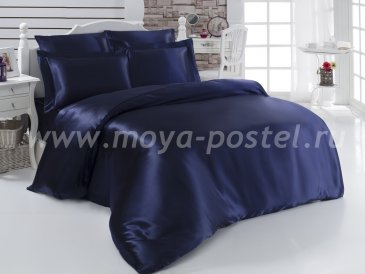 """Постельное белье шелк """"KARNA"""" ARIN (Евро) 50x70*2 70x70*2 (синий) в интернет-магазине Моя постель"""