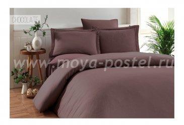 """Постельное белье """"KARNA"""" RUYA бамбук (Евро) 200x220 (50x70)*4, коричневый в интернет-магазине Моя постель"""