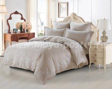 """Постельное белье KARNA сатин с вышивкой """"TERA"""" 300.TC (Евро) Серый в интернет-магазине Моя постель"""