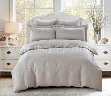 """Постельное белье KARNA сатин с вышивкой """"REVENA"""" 300.TC (Евро) Серый в интернет-магазине Моя постель"""