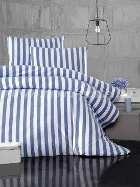 """Постельное белье """"KARNA"""" MELAN в синюю полоску, полуторное в интернет-магазине Моя постель"""