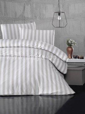 """Постельное белье """"KARNA"""" MELAN в бежевую полоску, полуторное в интернет-магазине Моя постель"""
