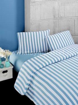 """Постельное белье """"KARNA"""" MELAN в голубую полоску, полуторное в интернет-магазине Моя постель"""