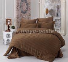 """Постельное белье бамбук """"KARNA"""" PERLA (Eвро) 50x70*2 70x70*2 коричневый в интернет-магазине Моя постель"""